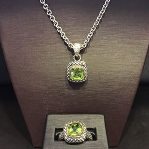 Sterling silver, 18k, peridot necklace/ring